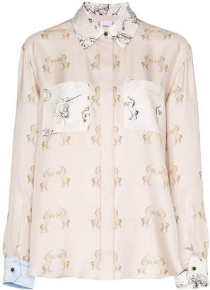 Burberry Alexa dancing unicorn print shirt