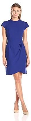Lark & Ro Amazon Brand Women's Cap Sleeve Mockneck Ruched Dress