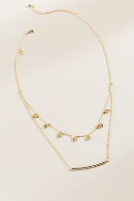 francesca's Evelyn Layered Coin Drop Bar Necklace - Gold
