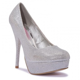 PeepToe Linzi Truffle Collection Silver Mesh Peep-Toe Platform High Heels