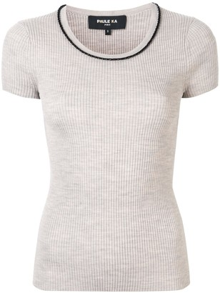 Paule Ka contrast piping knitted T-shirt