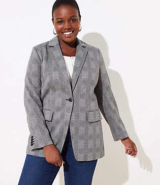 LOFT Plus Plaid Long Knit Modern Blazer