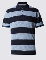 Marks and Spencer Pure Cotton Tailored Fit Striped Polo Shirt