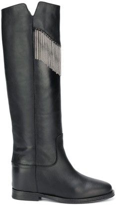 Via Roma 15 Silver Fringe Knee-High Boots