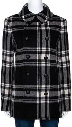 Ralph Lauren Monochrome Checked Cashmere & Wool Coat M