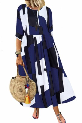 Zilcremo Women Summer Casual Loose Dress Bohemian Floral Cotton Maxi Dresses Navy 4XL