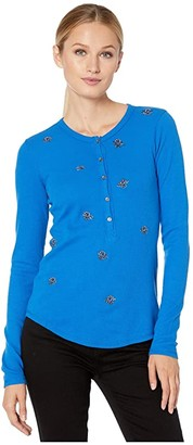 Lucky Brand All Over Embroidered Thermal Top (Princess Blue) Women's Clothing