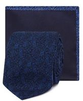 Red Herring Navy Floral Jacquard Skinny Blade Tie And Pocket Square
