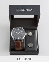 Sekonda Brown Leather Watch & Cufflinks Gift Set Exclusive To ASOS