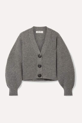 Sea Nellie Ribbed Wool Cardigan - Gray
