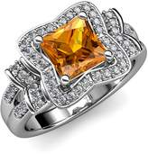 TriJewels Citrine and Diamond Engagement Ring 2.50 ct tw in 14K White Gold.size 6.0