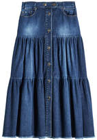 RED Valentino Tiered Denim Midi Skirt