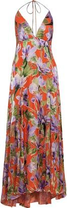 Alice + Olivia Hetty Floral-print Burnout Satin Halterneck Maxi Dress
