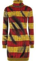 Moschino Striped Jacquard-Knit Wool Turtleneck Mini Dress
