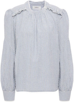 BA&SH Ruffled Striped Cotton-seersucker Shirt