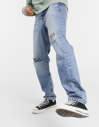 Jack and Jones Intelligence Chris loose fit jeans with rips light blue