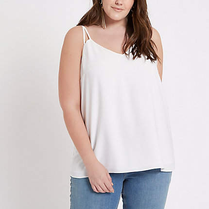 River Island Womens Plus White split strap cami top