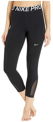 Nike Pro Crop Tights (Black/White) Women's Casual Pants