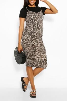 boohoo Maternity Leopard Print 2 In 1 Bodycon Dress