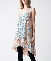 Jane Peach Floral Ruffle Sleeveless Tunic
