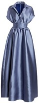 Lela Rose Duchess Satin Collared Ball Gown
