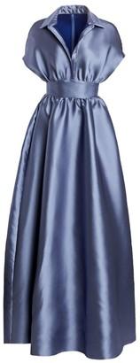 Lela Rose Duchess Satin Collared Ball Gown