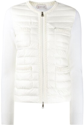 Moncler Embroidered-Trim Collarless Down Jacket