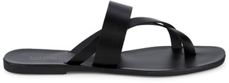 Saks Fifth Avenue Leather Toe Thong Sandals