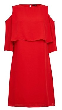 Dorothy Perkins Womens Red Cold Shoulder Shift Dress, Red