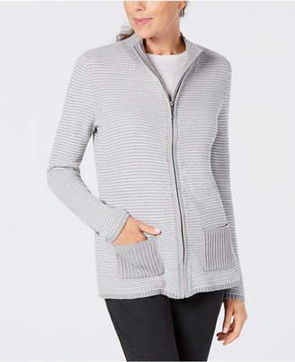 Karen Scott Petite Textured Zip-Front Cardigan