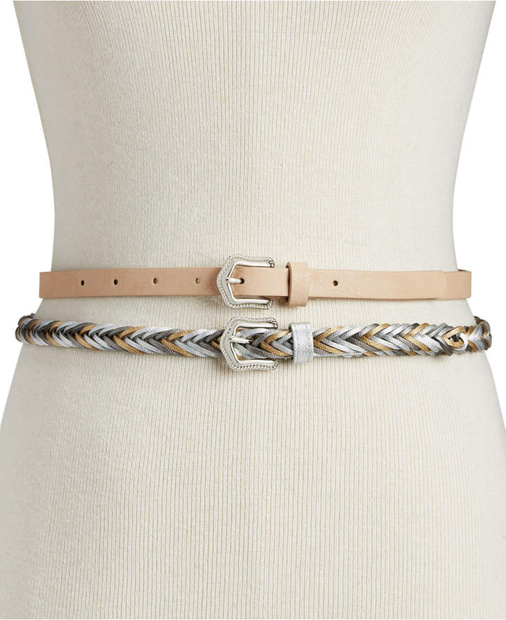 INC International Concepts I.N.C. 2-for-1 Solid & Braided Skinny Belts, Created for Macy's