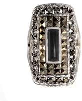Amazon Collection Sterling Marcasite and Rectangular Onyx Ring, Size 7