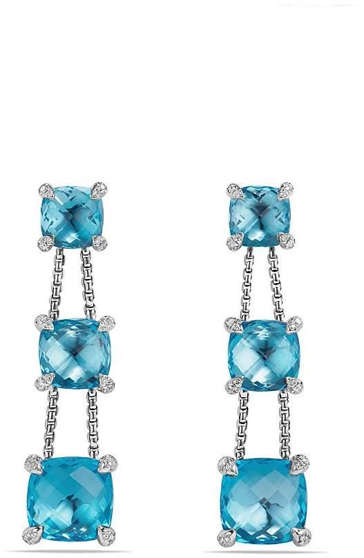 David Yurman Ch'telaine Linear Chain Earrings with Blue Topaz and Diamonds
