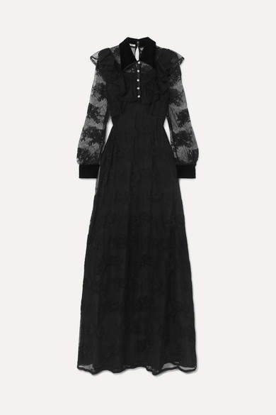 Miu Miu Crystal-embellished Velvet-trimmed Lace Gown - Black