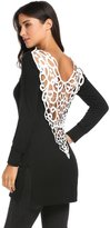 Meaneor Casual Fashion Tank Tops T-shirt Women Long Sleeve Lace Stitching Tops( XXL)
