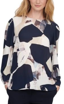 DKNY Long-Sleeve Abstract Print Blouse