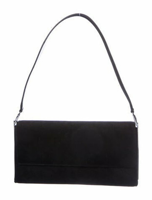 Salvatore Ferragamo Suede Flap Shoulder Bag Black
