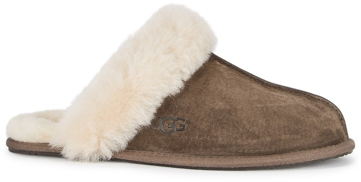 UGG Scuffette II Dark Brown Suede Slippers