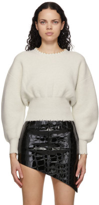 Alexander Wang Off-White Wool Pearl Necklace Sweater