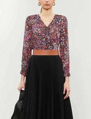 Maje Lehane silk floral blouse