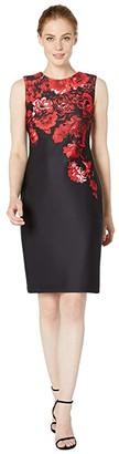 Calvin Klein Floral Border Print Sheath Dress (Red Multi) Women's Dress