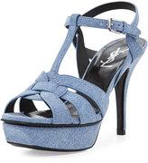 Saint Laurent Tribute Denim 75mm Platform Sandal, Blue