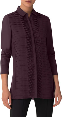 Akris Shutter-Front Side-Slit Tunic Blouse