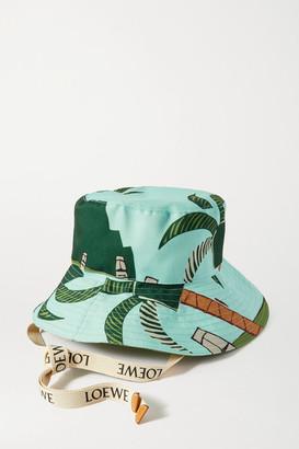Loewe + Ken Price Easter Island Leather-trimmed Printed Canvas Bucket Hat - Blue