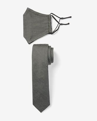 Express Textured Gray Face Mask & Tie Gift Set