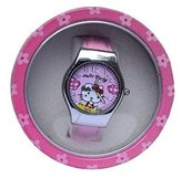 Hello Kitty Pink Young Girls Watch With Round Display Container Watch, HKW:31