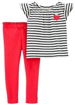 Carter's Toddler Girls 2 Piece Strawberry Tee Slub Pant Set
