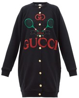 Gucci Logo-embroidered Reversible Sweatshirt Cardigan - Womens - Black Multi
