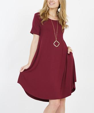 Lydiane Women's Casual Dresses DK - Dark Burgundy Crewneck Short-Sleeve Curved-Hem Pocket Tunic Dress - Women