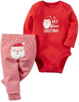 "Carter's Baby My First Christmas"" Bodysuit & Striped Pants Set"